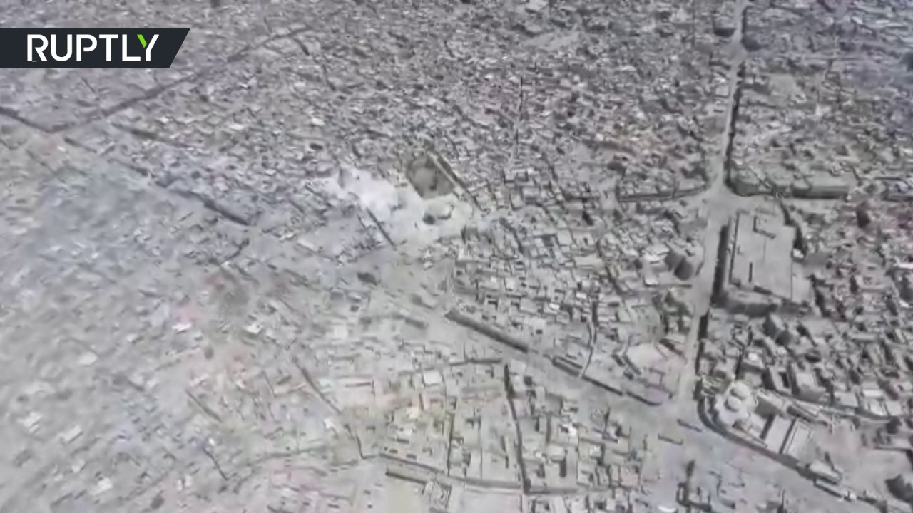 Aerial view of  Mosul's devastated Old City and ruins of Great Mosque of al-Nuri