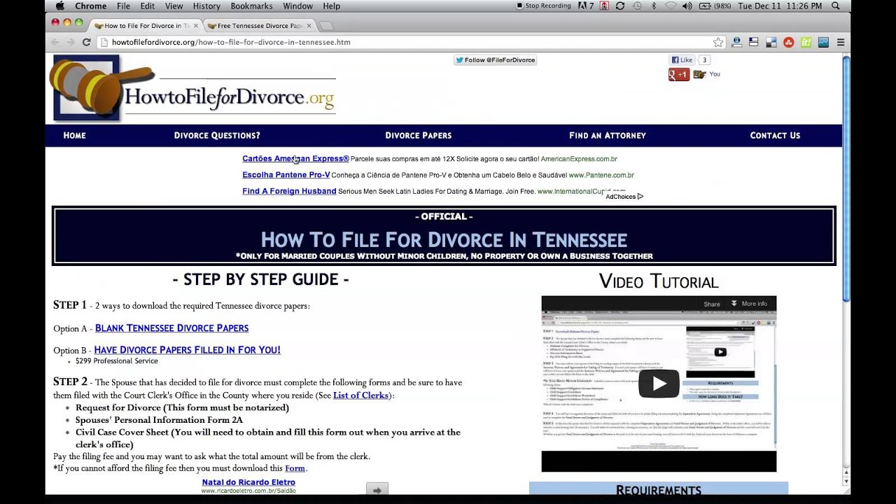 Free Tennessee Divorce Papers and Forms YouTube – Free Divorce Forms Papers