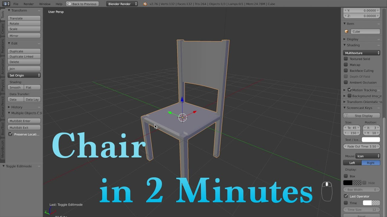 Blender Beginner Tutorial How To Model A Chair In 2 Minutes YouTube