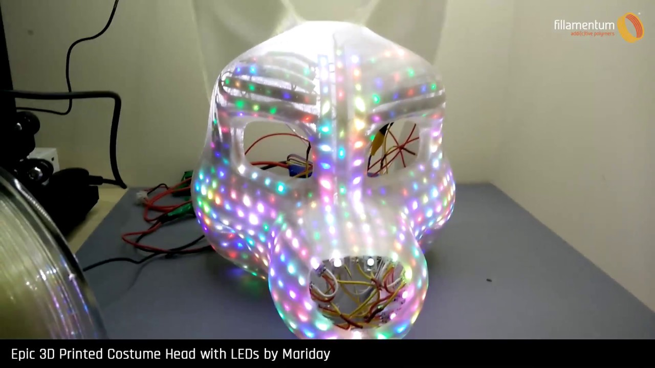 Epic 3D Printed Costume Head with LEDs by Mariday