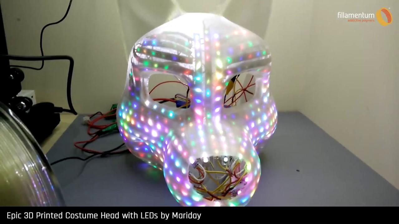 e90b6646e Epic 3D Printed Costume Head with LEDs by Mariday – Fillamentum.com