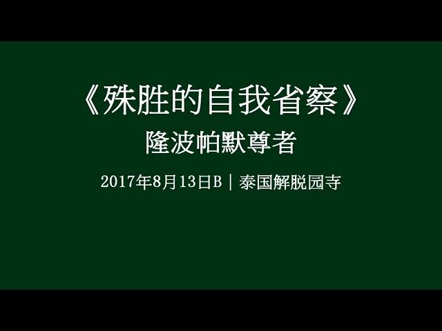 第七屆|06 殊勝的自我省察——隆波帕默尊者|2017年8月13日B(泰語中文字幕)