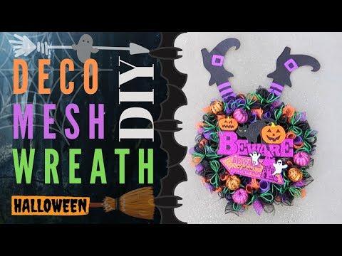 DIY Dollar Tree Deco Mesh Halloween Wreath
