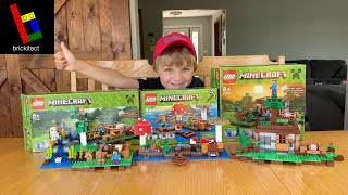 LEGO Minecraft First Night, Mushroom Island, and Farm REVIEWED! (No Dads Allowed)