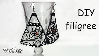 Diy polymer clay (Fimo) filigree earrings - Recycling Cds tutorial