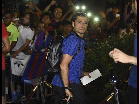 Llegada del Barça al hotel de New Jersey