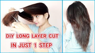 Long Layer Cut In 1 Step At Home Using Crea Clips Tool(Hindi) Own Haircuts AlwaysPrettyUseful