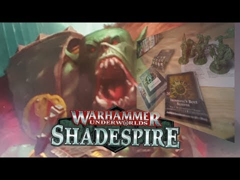 unboxing Warhammer Underworlds Shadespire: Ironskull's Boys Expansion. deck,miniatures,dice,sleeves