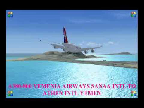 A380 800 YEMENIA AIRWAYS SANAA INTL TO ATHEN INTL YEMEN
