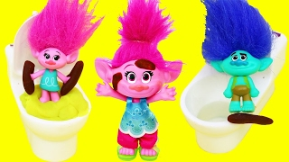 TROLLS POTTY TRAINING Poppy & Branch Baby Toilet Training Fail With Poop & Pee in the Dollhouse