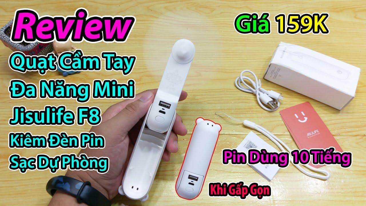 Mở Hộp Quạt Cầm Tay Đa Năng Mini Jisulife F8, Kiêm đèn pin & sạc dự phòng pin dùng 10 tiếng