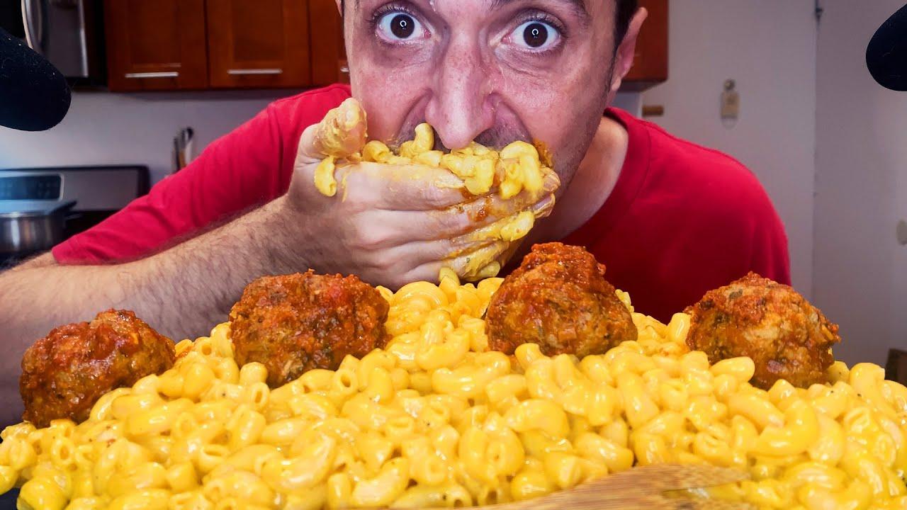 GIANT MEATBALL MAC AND CHEESE 🧀 미트볼 맥 앤 치즈 * ASMR MUKBANG NO TALKING *