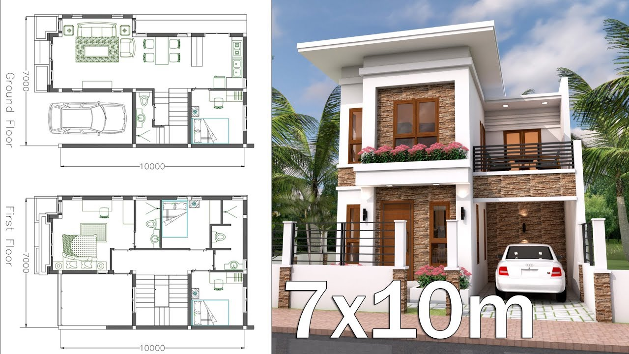 Interior home plan 7x10 meter 4 bedrooms youtube for Casa interior design
