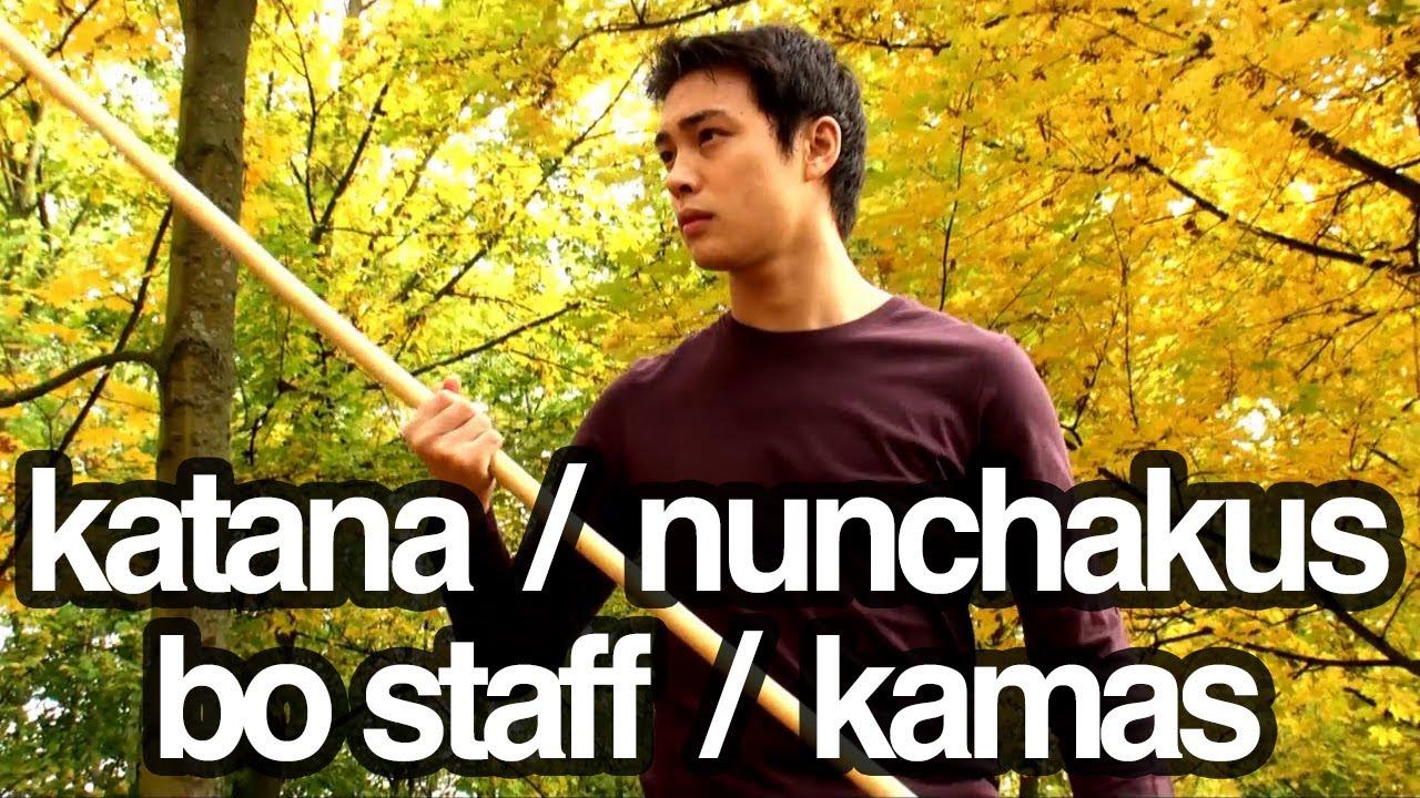 Nunchakus, katana, bo staff / stick, kamas - Martial arts weapons freestyle  training