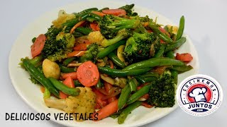 Deliciosos vegetales al vapor y fritos - Estilo Chinos