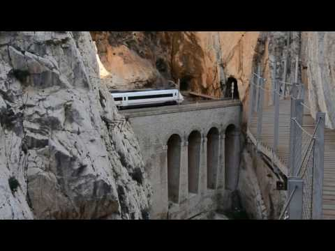 "RENFE train seen from famous ""El Caminito del Rey"""