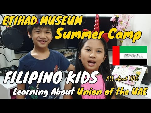Filipino kids learning about the Union of the UAE through Etihad Museum Summer Camp 2020