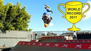 100 Backflips in 1 Min on a Scooter! WORLD RECORD 2017!!!