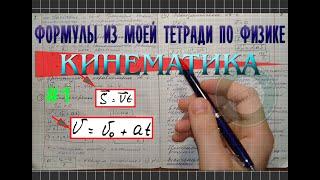 Формулы кинематики │Часть 1. Обзор моей тетради по физике