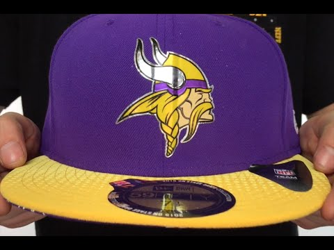Vikings  2015 NFL DRAFT  Purple-Gold Fitted Hat by New Era - YouTube 3ba575f2a