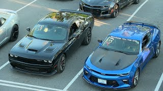 Who's the fastest ? Modern muscle cars drag race. thumbnail