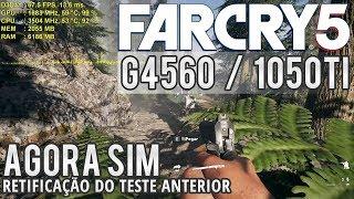 🎮 Mais FPS com Pentium G4560 e GTX 1050 Ti em Far Cry 5 - Retificação do teste anterior (Full HD)