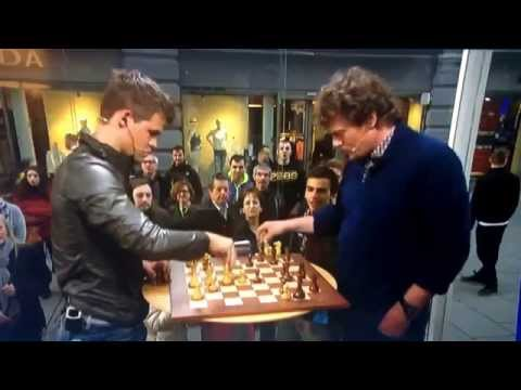Lars Monsen (3mins) vs. Magnus Carlsen (30secs) in a game of chess