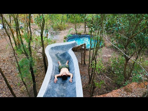 Build Water Slide On Cliff And Swimming Pool Underground