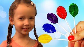 Finger family color lollipops VS healthy food