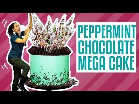 How To Make A PEPPERMINT CHOCOLATE MEGA CAKE   Yolanda Gampp   How To Cake It