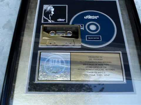 """CHEMICAL BROTHERS - """"DIG YOUR OWN HOLE"""" RIAA GOLD AWARD FOR SALE -  SOLD"""