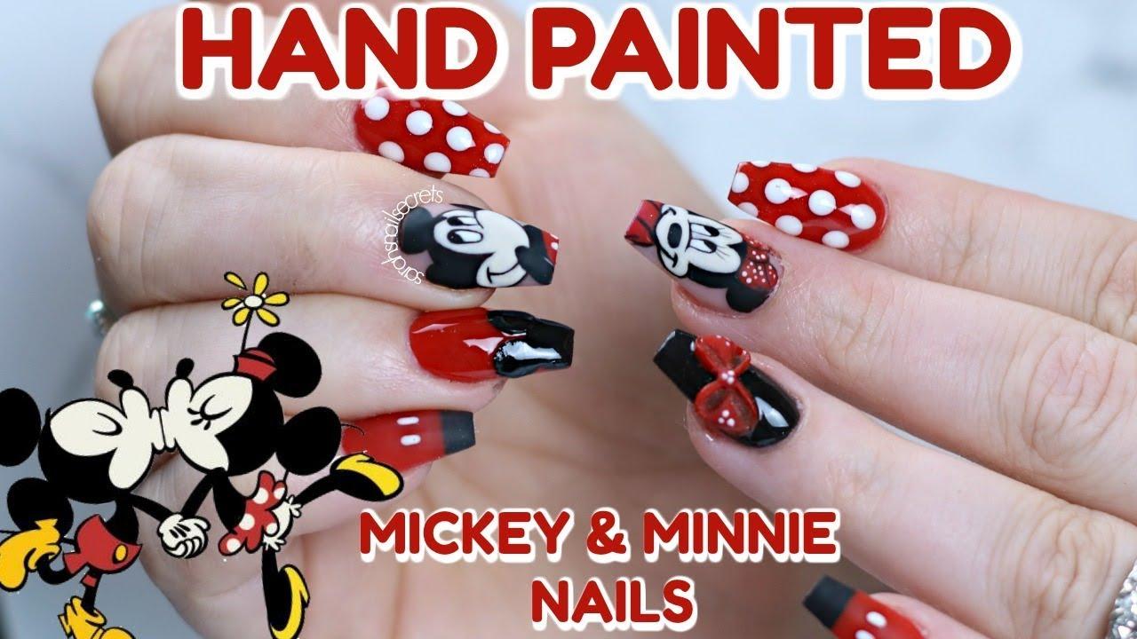 Disney Nail Tutorial Mickey Minnie Mouse Nails Youtube