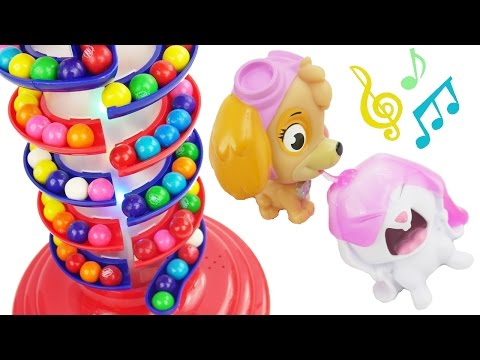 Gumball machine plays music for paw patrol