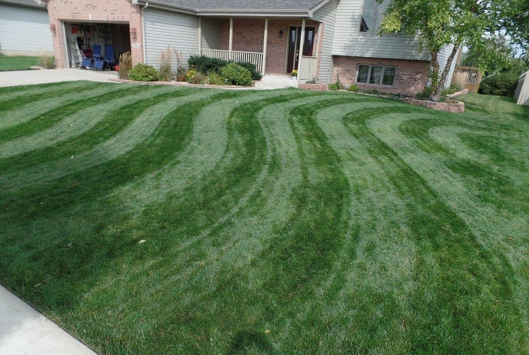 "mowing stripes in lawn - """""