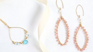 Gemstone Wire Wrapped Hoops (Oval) - Jewelry Making - Jewellery Making
