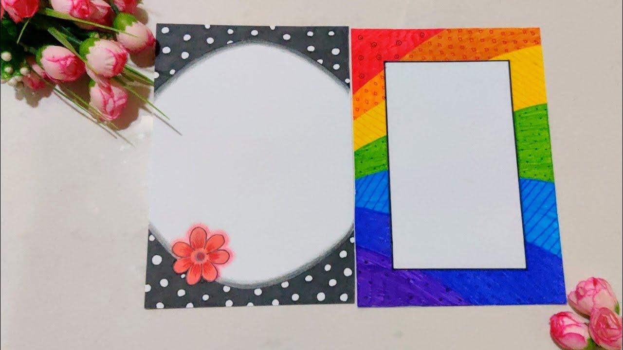 easy border design on paper   colourful border   front
