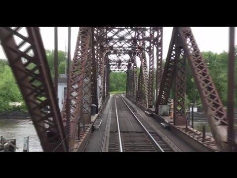 (HD) Crossing the Mississippi Railroad Bridge at La Crosse: Great View