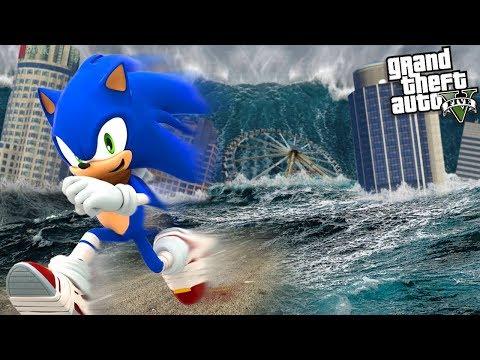 SONIC The HEDGEHOG Escapes A TSUNAMI SUPER STORM (GTA 5 Mods)