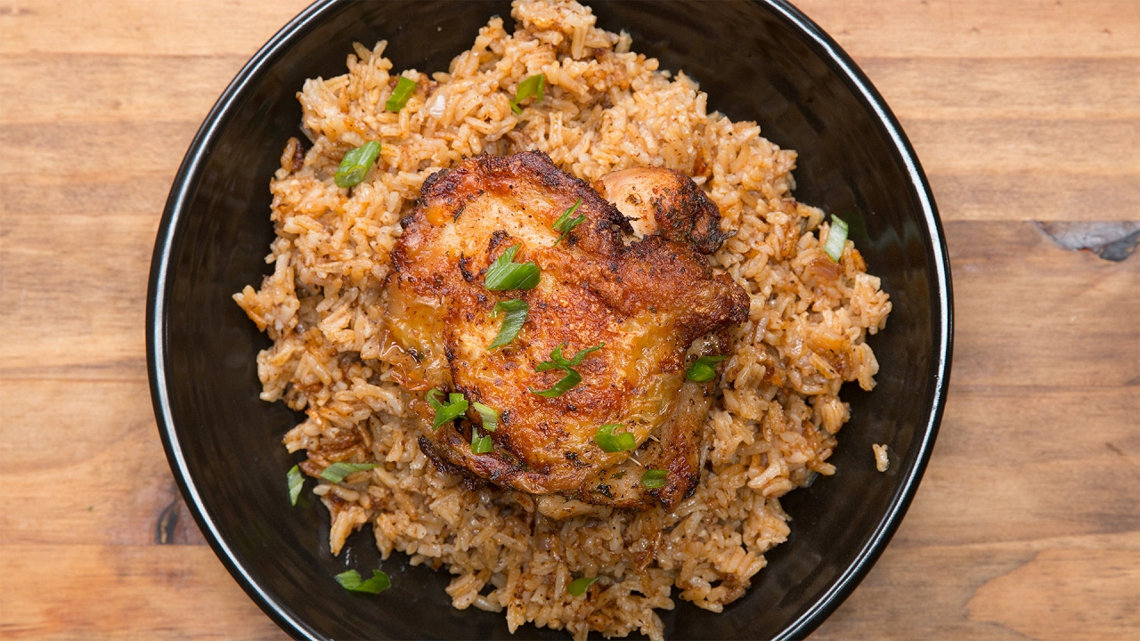 how to cook chicken and rice in the oven