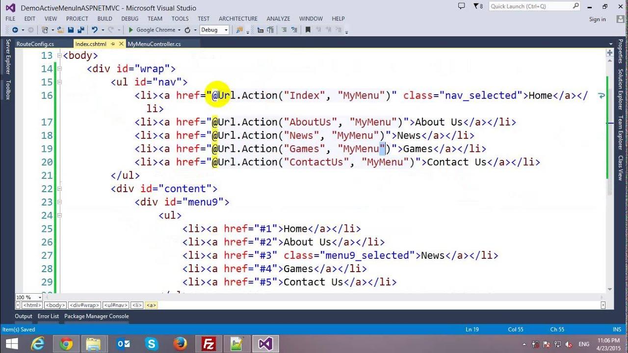 Highlight Selected Menu Item in ASP NET MVC