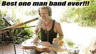 One man band: naTHAN Kaye - slide guitar & didgeridoo simultaneously #burningthecandle