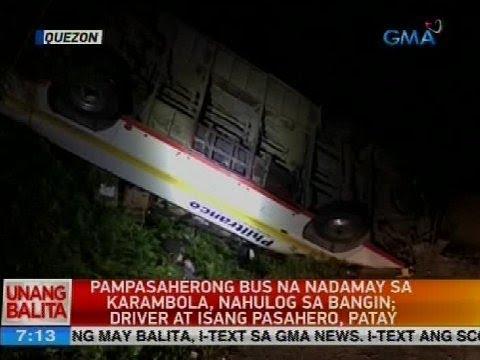 Pampasaherong bus na nadamay sa karambola, nahulog sa bangin