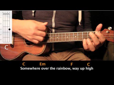 "Como tocar ""Somewhere Over The Rainbow"" - Tutorial Ukulele (Acordes) HD"