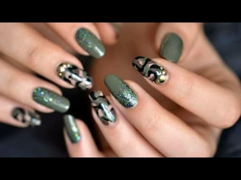 Camo Nail art Tutorial - Camo Nail Art Tutorial - YouTube