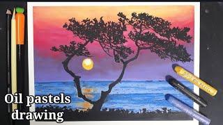 오일파스텔로 바다 풍경…