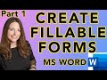 How To Create Fillable Forms In Microsoft Word (Create HR Template Forms) Part 1