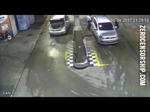 SHOCKING FOOTAGE SHOWS CAR EXPLODE AT PETROL STATION