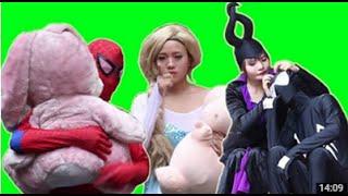냉동 엘사 와 스파이더 맨 - 말레 피 센트 및 위협 아래 검은 거미 - 재미 슈퍼 히어로