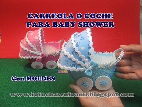 Carreola o coche para baby shower en foamy o gomaeva con for Coches para bebes
