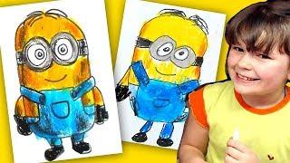 Как нарисовать МИНЬОНА урок рисования для детей